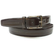 Men's belt in shiny calfskin brushed and hand waxed -1160